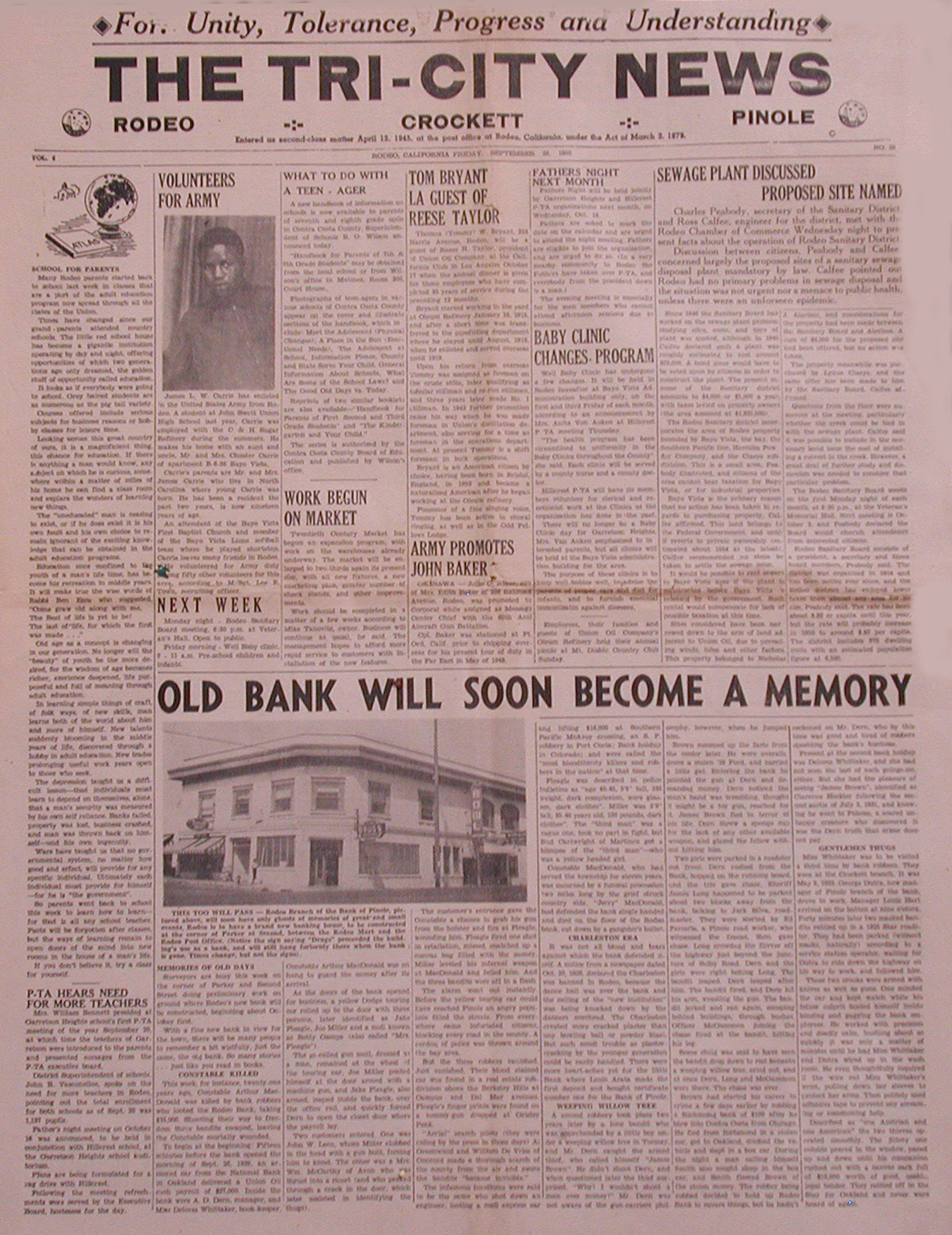 Click Below to See Zoomed Bank Robbery Article